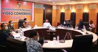 Soal PSBB, Wakil Walikota Pekanbaru Gelar Video Conference Bersama Gubernur